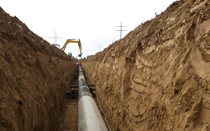 Excavación del gasoducto existente Isarschiene, 2015
